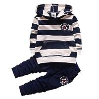 Shiningup Baby-Trainingsanzug-Jungen-Kleidungs-gesetztes Outfit-langes mit Kapuze gestreiftes T-Shirt und Hosen für 0-4 Jahre kleine Kinder durch