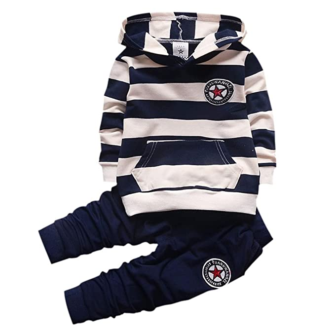 6195feec Shiningup Baby Tracksuit Boys Clothing Set Outfit Long Sleeve Hooded  Striped T-Shirt and Pants Little Kids