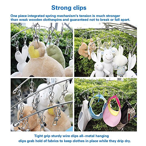 KEREITH 3Pack Sock Dryer Hanger Laundry Drying Rack Indoor Outdoor Drip Hanger with 10 Pegs Drying Towels, Diapers, Baby Clothes,Underwear, Glves,Delicate Bras(3pack laundry pegs) by KEREITH (Image #5)