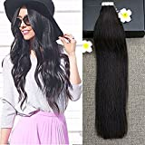 """Full Shine 20"""" 50g 20 Pieces Per Pakcage color #1B off Black Tape in Human Hair Skin Weft Silkly Straight Real Human Hair Adhesive Extensions"""
