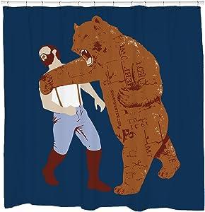 Cool Shower Curtain - Bear Punching Man - Funny Bathroom Decor - Bachelor Pad - Waterproof - Fits Bathtub- Hooks Included - 72 x 72