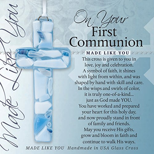 First Communion Gift for Boy - Handmade in USA Blue Mosaic Glass Cross with - Communion Gift 1st