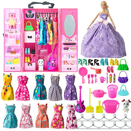 SOTOGO 54 Pieces Doll Clothes and Accessories for Barbie Dolls Include 11 Pieces Handmade Doll Grown Outfits Party Dresses, 42 Pieces Different Doll Accessories and Doll Closet Wardrobe