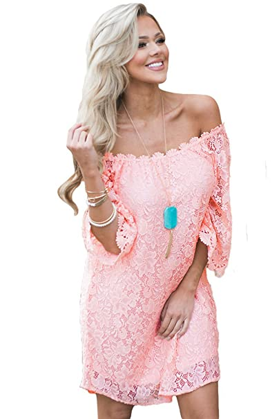 2a29f66e2ffa Boldgal Women s One Piece Off-Shoulder Short Pink Print Dress (Pink X-Large)