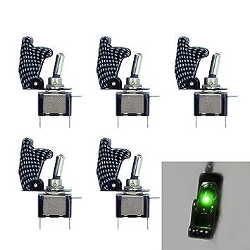 Mintice/™ 5 X KFZ Auto Boot Violett LED Licht Schalter SPST EIN//AUS Wippenschalter Kippschalter 3-polig 12V 20A Kohlefaser