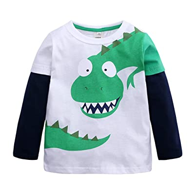 VEKDONE Toddler Boys Clothes Cartoon Dinosaur T-Shirts Long Sleeve Patchwork Cotton Top Clothes: Clothing