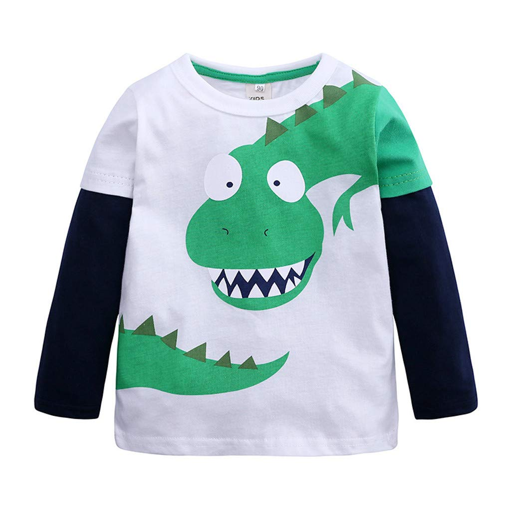 MISYAA Kids Boys Girls Dinosaur Print Tops Long Sleeve Cartoon Pullovers Casual Shirts Toddlers Babies Tees Color Patchwork