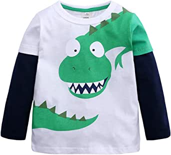 Cartoon Dinosaur Print Patchwork Long Sleeve T-Shirt Tops Teen Kids Toddler Baby Girls Boys Pullover Spring Clothes