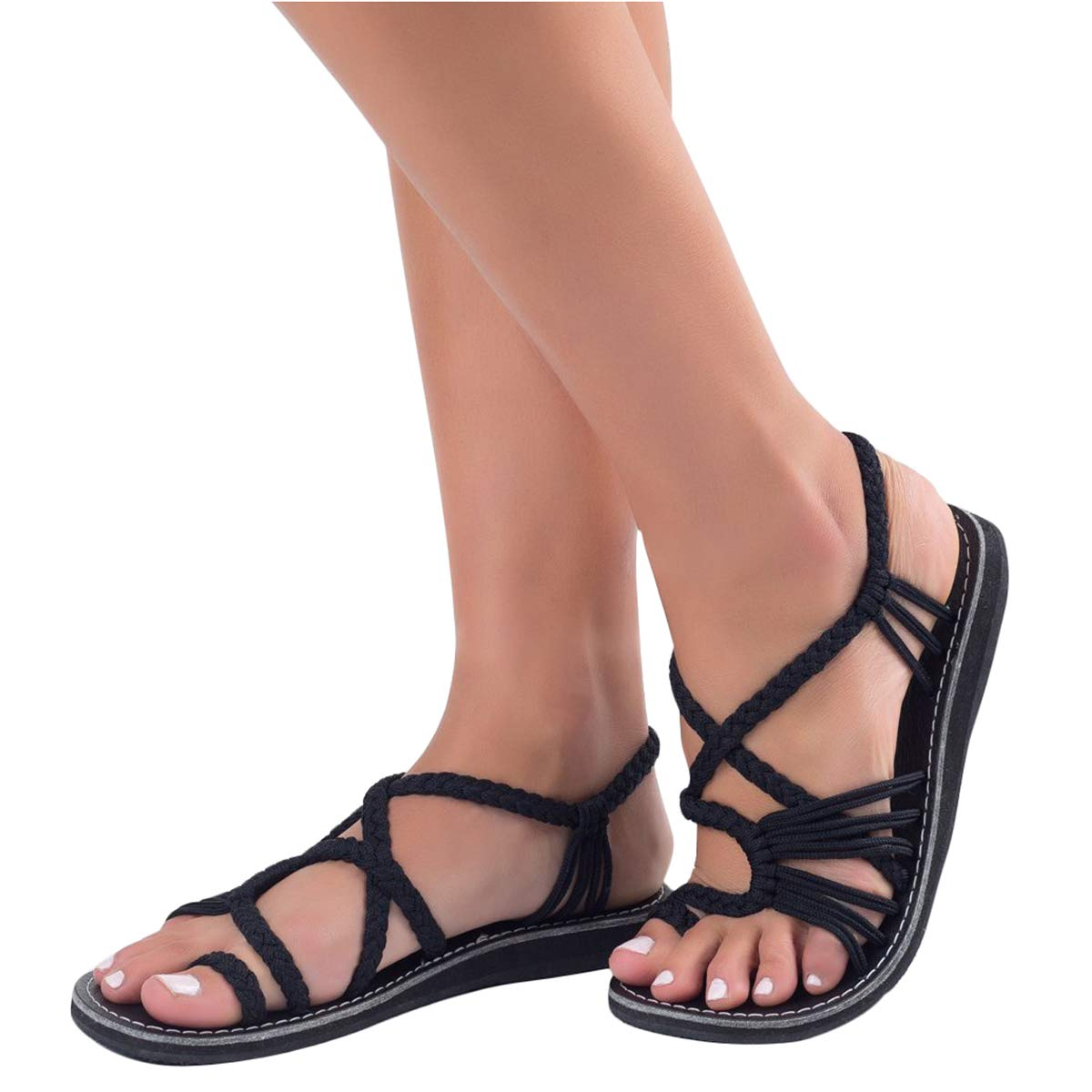 ORANDESIGNE Sandali Donna Eleganti Spiaggia Casuale Intrecciato Sandals Shoes Estivi Tacco Basso Infradito Scarpe  Nero