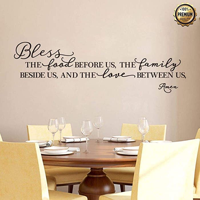 """Premium Kitchen Wall Stickers Home Decor, Dining, Quote Decal Heart Easy to Install Vinyl Art Decoration (Bless The Food Before Us, The Family Beside Us, and The Love Between Us, Amen) 39.5"""" X 11.5"""""""