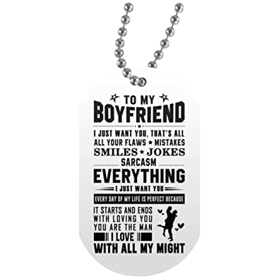 AZ Gift Plus Individualized To My Boyfriend Dog Tag Necklace Military Mens Jewelry