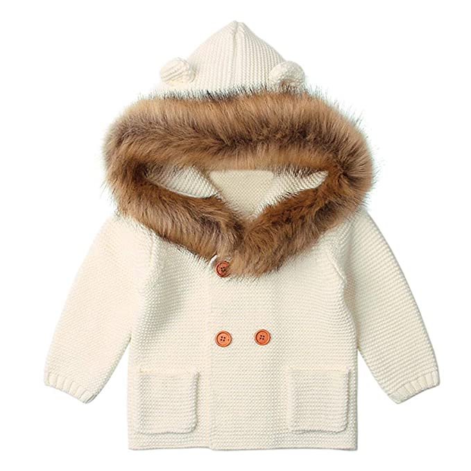 Logobeing Ropa de Bebe Suéters Cuello de Piel para bebé Niños Abrigos con Capucha Tops Chaqueta