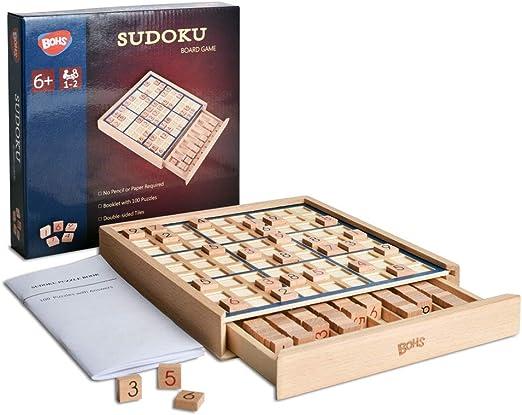 Juego de Mesa de Madera Sudoku con cajón - con Libro de 100 Rompecabezas de Sudoku - Math Brain Teaser Desktop Toys: Amazon.es: Juguetes y juegos