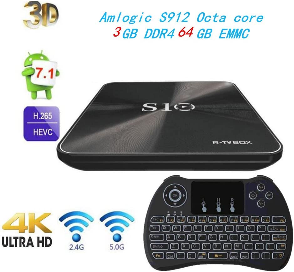 3G/64G) R-TV BOX S10 Android 7.1 TV Box 4K Amlogic S912 Octa-core con Wifi 2.4 / 5G preinstalado Smart TV Box with Wireless Backlight Keyboard: Amazon.es: Electrónica