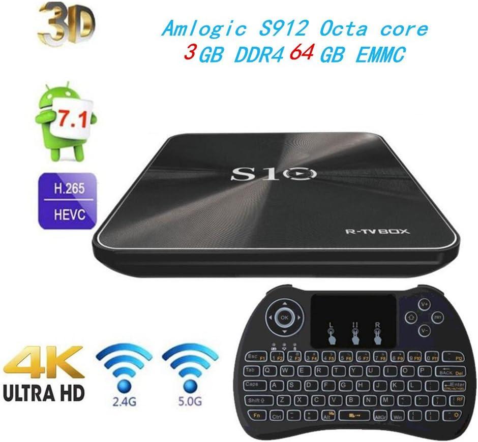 3G/64G) R-TV BOX S10 Android 7.1 TV Box 4K Amlogic S912 Octa-core con Wifi 2.4 / 5G preinstalado Smart TV Box with Wireless Backlight Keyboard: Amazon.es: Electrónica
