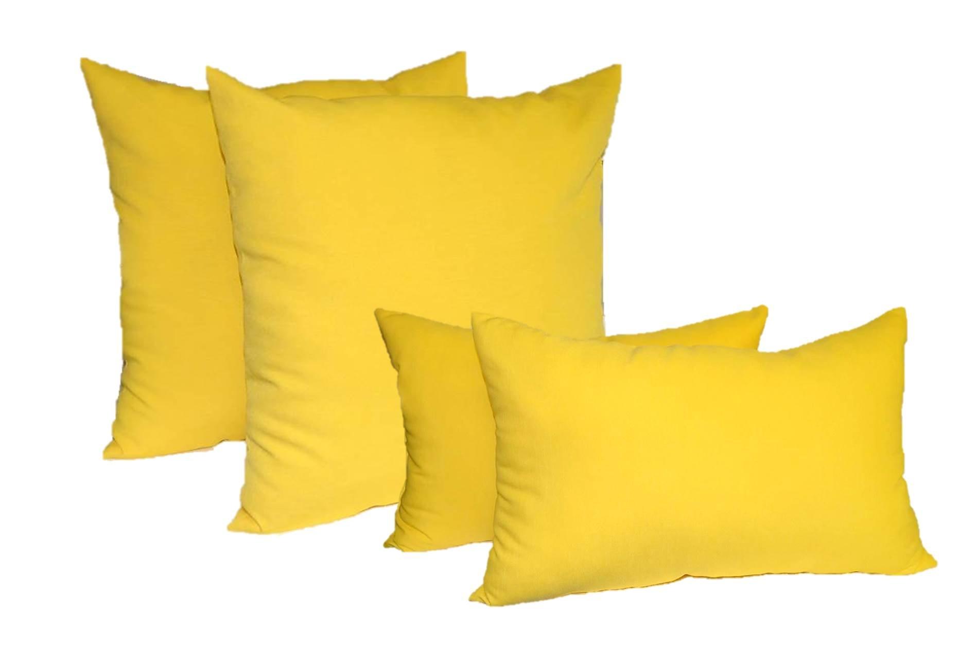 Set of 4 Indoor / Outdoor Pillows - 2 Square Pillows & 2 Rectangle / Lumbar Decorative Throw Pillows - Solid Yellow (20'' x 20'' square & 11'' x 19'' lumbar)