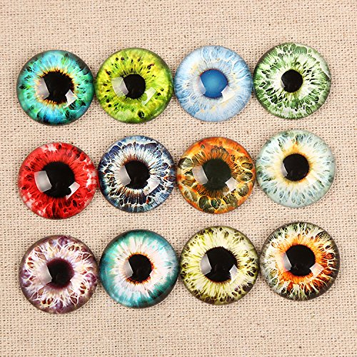 Mixed Style Dragon Eyes Flatback Dome Cabochon for Jewelry Finding Cameo Pendant DIY Settings (8mm 10mm 14mm) (Glass Eye Cabochons)