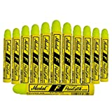 12 Pc Box Flourescent Yellow Markal F Paintstiks Glow UV Black Light Crayon Marks Metal Glass Wood Rubber for Auto Tire Construction Lumber