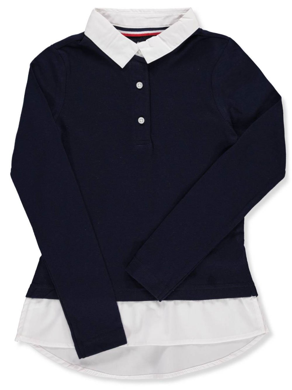 French Toast School Uniform Girls Long Sleeve 2-Fer Mock Collar with Sweater