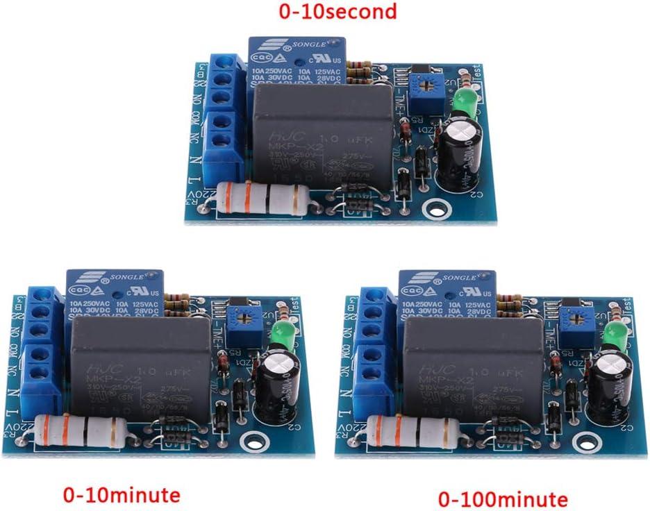 retardo de 0 a 10 Segundos Encendido 1pc Temporizador de m/ódulo de rel/é de retardo de 220 V YoungerY