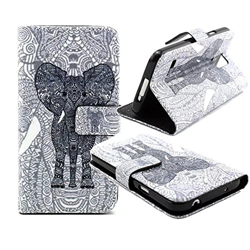 Galaxy S5 Wallet Phone Case, Jenny Shop [Stand Feather] Fashion Style Premium PU Leather Flip Cover Wallet Case with 2 Built-in Card/ID Credit Card Slots, Money Pocket and Built-in Magnetic Closure Cover Case for Samsung Galaxy SV I9600 (Elephant with Ivory)