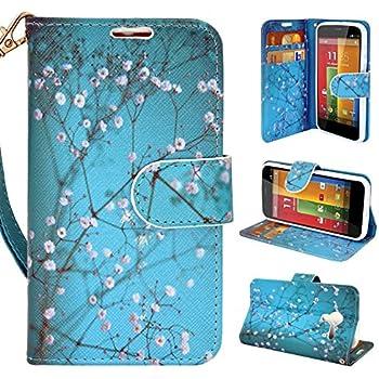 Moto G Case, Customerfirst, Motorola Moto G Wallet Case [Book Fold] Leather Moto G Flip Cover with Folding Stand, Credit Card Slots - Flip Case for Motorola Moto G, 2013 (1st Gen.) (Blossom Teal)