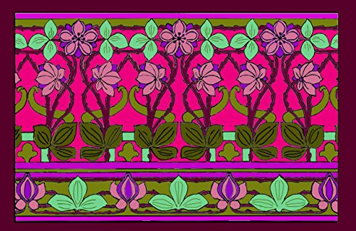 ADULT COLORING PLACEMAT ART DECO COLLECTION-FANTASY FLORAL-SET OF 4 PLACEMATS TO COLOR PLUS 4 LAMINATING POUCHES,PRACTICE PLACEMAT AND STORAGE ENVELOPE