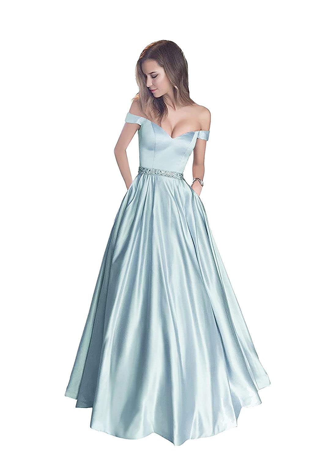 bluee1 LISA.MOON Women's V Neck Long Sleeves Back Hole Lace Applique Pearl Evening Gown