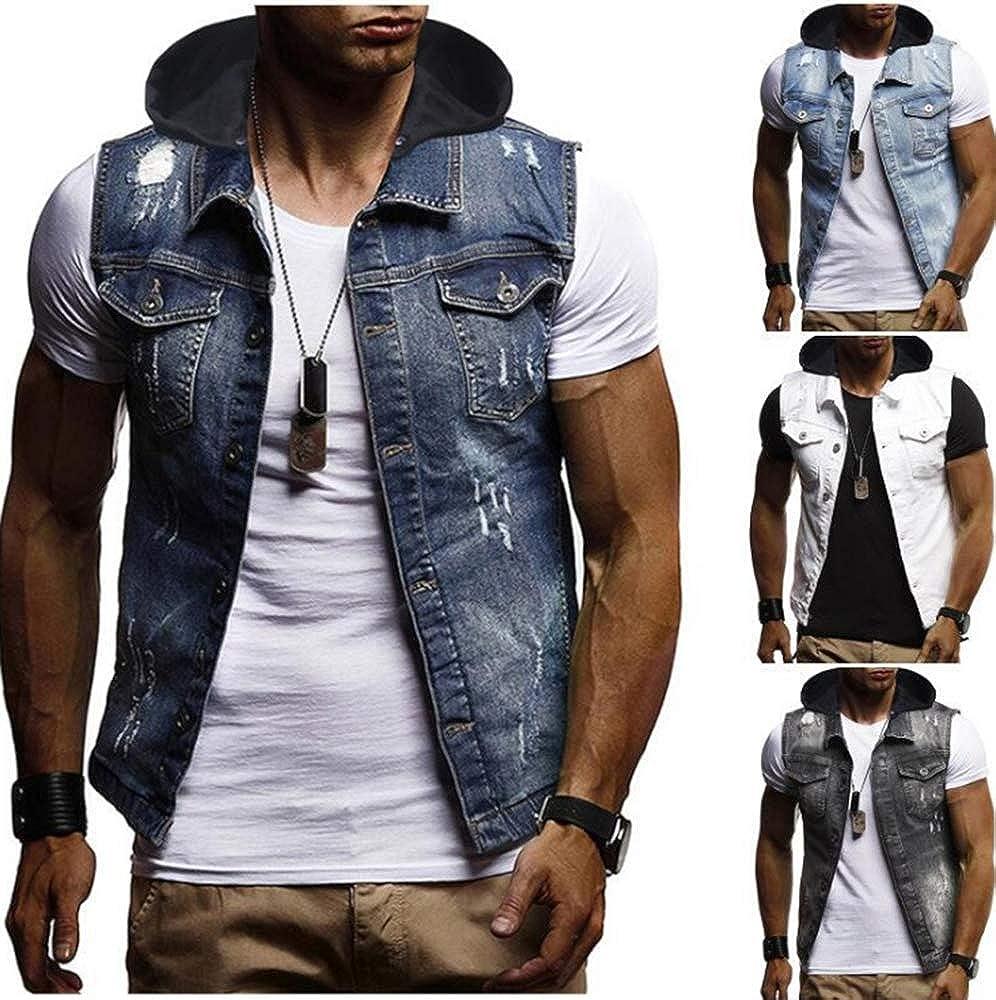 Veste en Denim pour Homme Veste de Cowboy sans Manches à Capuche Veste Classique en Denim avec décoration à Trous Blanc