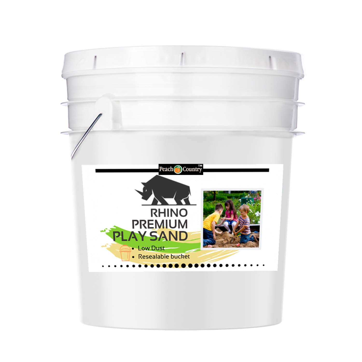 Rhino Natural Premium Low Dust Play Sand- for Sand Box, Play Ground Area, Sand Art, Indoor/Outdoor with Resealable Bucket (50 Pound Bucket) by Peach Country (Image #1)