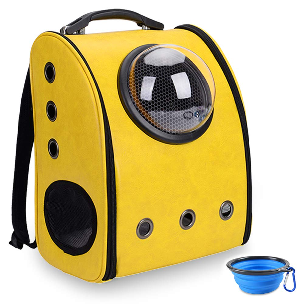 2Yellow Aukor Cat Backpack Carriers Cat Bubble Pet Carrier Backpack Ventilated Airline Approved Travel Pet Backpacks for Cats Dogs Switchable Bubbles and Vent Mesh