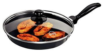 hawkins futura nonstick frying pan with glass lid 26cm black - Non Stick Frying Pan