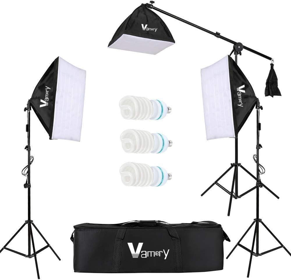 Asdomo Vamery 220V 65W Photo Studio Fotography 3 Soft Box Light Stand Kit de iluminación continua Difusor estándar del Reino Unido