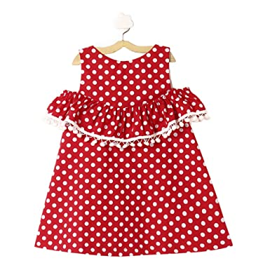 6c1fb4235fa The KidShop Baby Girl Cotton Polka Dots Printed Cold Shoulder Casual Dress  in Red Color for