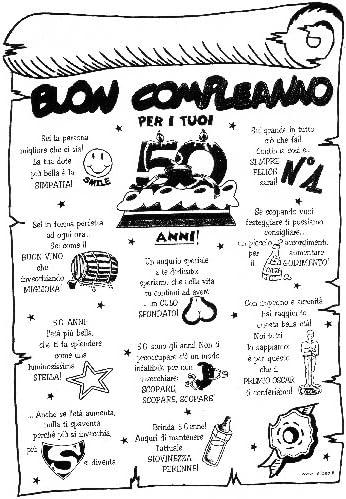 Pergamena Buon Compleanno Per I Tuoi 50 Anni Scherzo Scherzetto