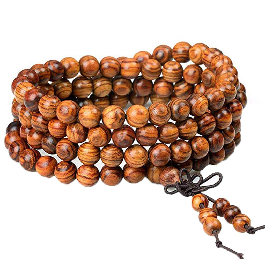 🥜Women Men 8mm Wooden Bead Buddhist Prayer Mala Necklace Bracelet Gift Jewelry