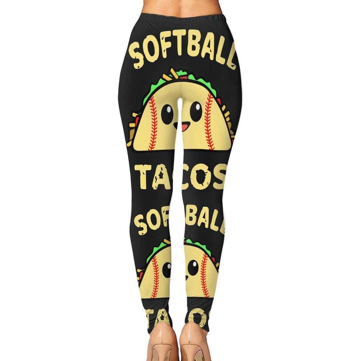 Liu Chao Softball and Tacos Funny Womens Yoga Pants Running ...
