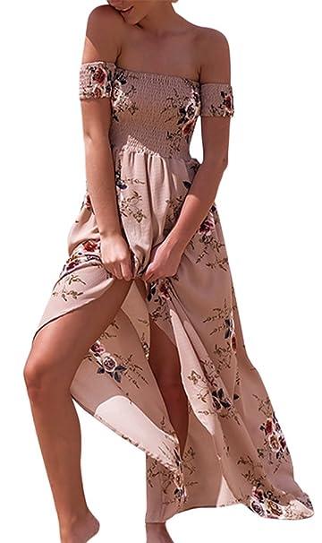 3e294ecd9456 Hikong Abito Lungo Donna Elegante Chiffon Fiore Stampato a Vita Alta Vestito  Maxi Spacco a Pieghe Senza Spalle Abiti da Sera Cerimonia Cocktail   Amazon.it  ...