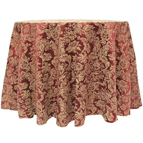 Ultimate Textile Vintage Damask Miranda 70 x 104-Inch Oval Tablecloth Bordeaux