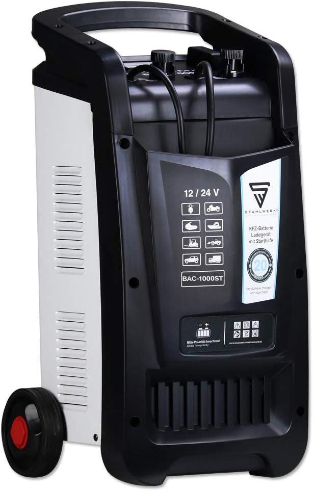 STAHLWERK Cargador de batería BAC-1000 ST, para Coche, Capacidad hasta 1000 Ah, 90 A, Ayuda de Arranque, Booster, Temporizador, 7 años de garantía