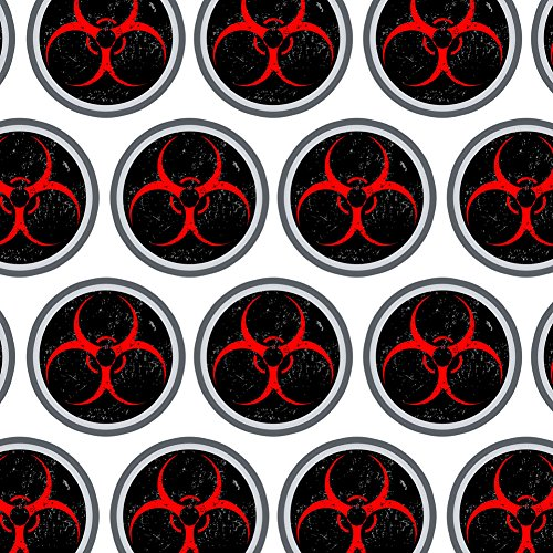 Premium Gift Wrap Wrapping Paper Roll Zombie Outbreak Response Team Symbol - Biohazard Warning Red ()