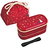 OSK Japanese Traditional Rabbit Moon Bento Box Set, Includes 620ml 2-Tier Bento Box, Chopsticks, Bento Bag, Red