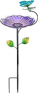 MUMTOP Small Bird Bath Birdfeeder for Garden Outdoor Hummingbird (Purple)