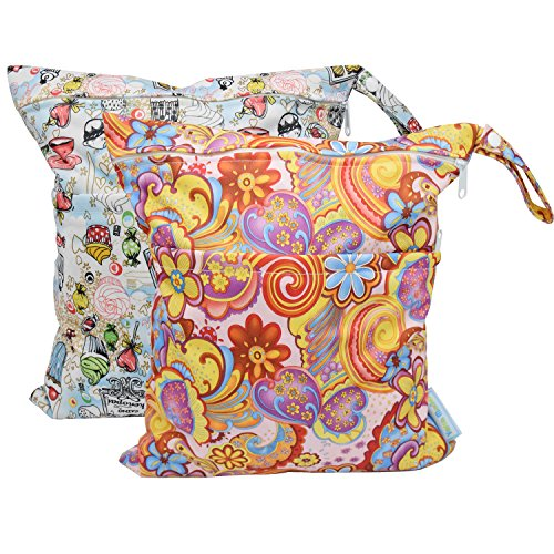 (Baby Wet Bag Dry Bag Splice Cloth Diaper Wet Bags Waterproof Small Size with Zipper Snap Handle Pack of 2 (Flower and Candy Ice Cream))