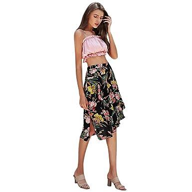 Conquro-falda Larga Mujer 2023 Casual Playa Estampado Floral Una ...
