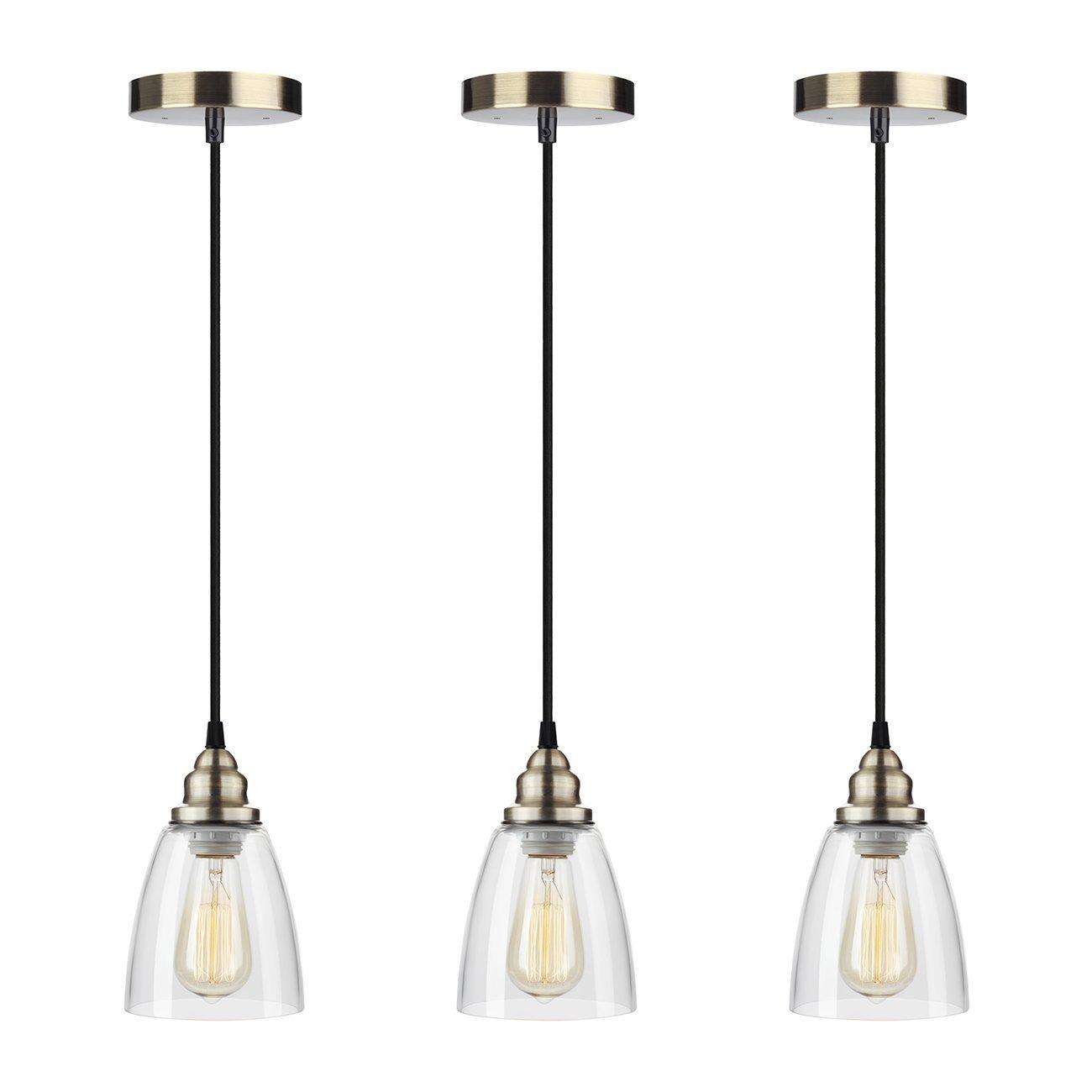 Industrial Edison Mini Glass 3-Light Pendant Hanging Lamp Fixture Shine HAI Modern Industrial Edison Vintage Style
