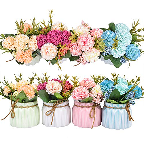 Artificial Flower Plants – Mini Fake Hydrangea Flowers in Pot for Home Decor Party Wedding Office Patio Table Desk…