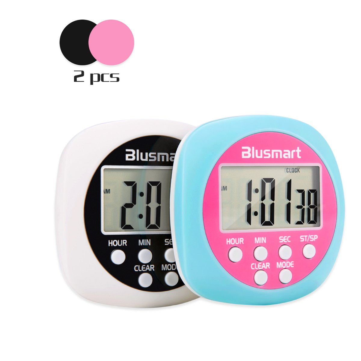 Blusmart Digital Kitchen Timer - Large LCD Display, Countdown Count-up, Loud Alarm, Simple Operation - Old and Children Can Use Easily, for Kitchen, Homework, Exercise etc (Battery Included)