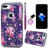 """Badalink iPhone 7 Plus Case (5.5"""") Colorful Painting Shockproof Drop Protection Soft TPU Flexible Inner Bumper + Slim-Fit PC Back Shell Scratch Resistant Protective Cover for iPhone 7 Plus - Pattern 1"""