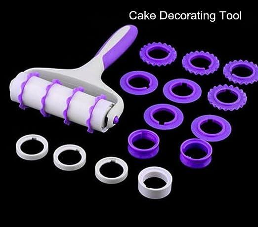 zomup tira de Fondant Ribbon Cutter conmutable Baking Pastry Fondant Embosser Roller decoración de pasteles juego de herramientas: Amazon.es: Hogar